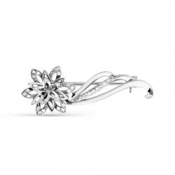 Брошь Цветок из белого золота с бриллиантами