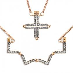 Золотое колье Геометрия с бриллиантами, магнитами
