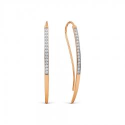 Золотые серьги Геометрия с фианитами