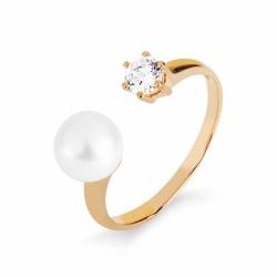 Золотое кольцо с белым жемчугом, фианитом