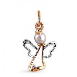 Золотая подвеска Ангел с белым жемчугом, фианитом