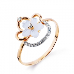 Золотое кольцо с перламутром и фианитами