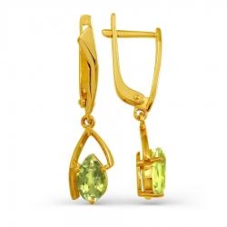 Серьги из желтого золота с хризолитом