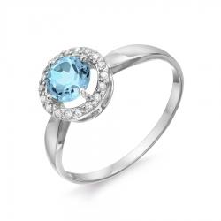Женское кольцо из белого золота с топазом и фианитами