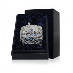 Серебряная шкатулка «Павлин» с эмалью
