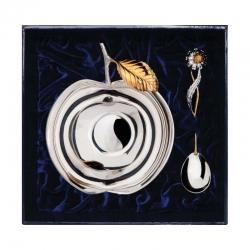 Серебряный набор «Яблоневый сад»  с позолотой из 2 предметов