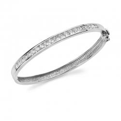 Жесткий браслет из белого золота с бриллиантами