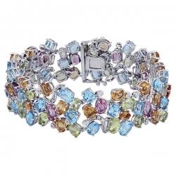 Эксклюзивный браслет с цветными камнями и бриллиантами из белого золота