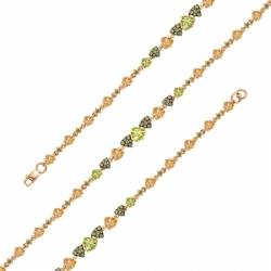 Браслет из красного золота с фианитами, хризолитами и цитринами