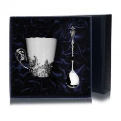 """Набор серебряная  чайная чашка """"Тетерев"""""""