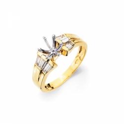 Оправа для кольца из комбинированного золота с бриллиантом