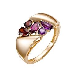 Кольцо из красного золота с аметистами, родолитом и гранатами