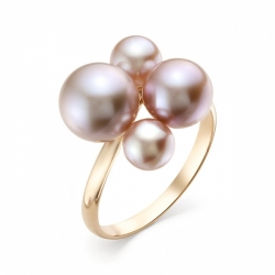 Кольцо из красного золота с розовым жемчугом