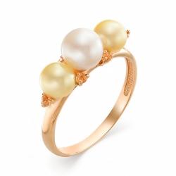 Золотое кольцо с жемчугом, цитринами