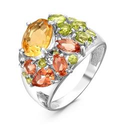 Кольцо из серебра с султанитом, хризолитами, цитрином