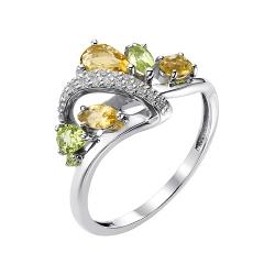 Серебряное кольцо с цитрином, хризолитом, фианитом