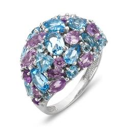 Кольцо из серебра с топазами, аметистами