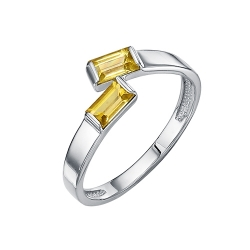 Кольцо из серебра с цитринами