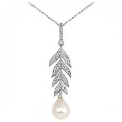 Колье из белого золота с бриллиантами и жемчугом