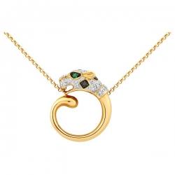 Колье из жёлтого золота с бриллиантами и изумрудами