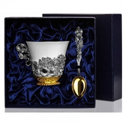 """Набор серебряная чайная чашка """"Натюрморт"""" с позолотой"""