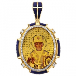 Подвеска-кулон образ Николай Чудотворец из комбинированного золота с бриллиантами