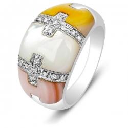Кольцо из белого золота с бриллиантами и перламутром