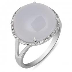 Золотое кольцо с бриллиантами и халцедоном