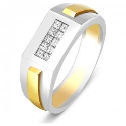 Кольцо мужское из комбинированного золота с бриллиантами