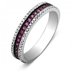 Обручальное кольцо с бриллиантами и рубинами