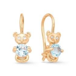 Серьги детские Мишки из красного золота с фианитами, топазами
