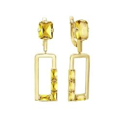 Серьги с подвесом из желтого золота с цитринами