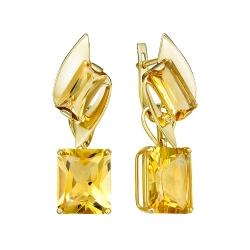 Серьги-трансформеры из желтого золота с цитринами