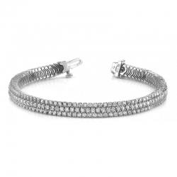 Широкий браслет из белого золота с бриллиантами