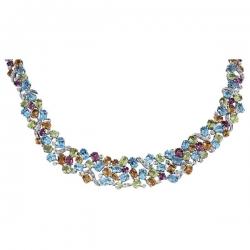 Колье с бриллиантами и полудрагоценными камнями из белого золота