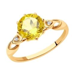 Кольцо из золочёного серебра с цитрином и фианитами
