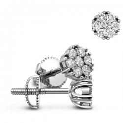 Пусеты  из белого золота с бриллиантами