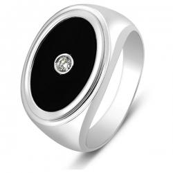 Кольцо мужское с бриллиантом и ониксом