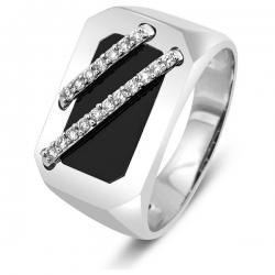 Кольцо мужское с бриллиантами и ониксом
