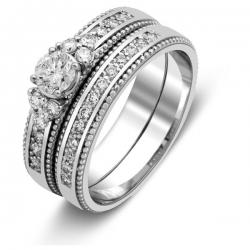 Комплект: помолвочное и обручальное кольца из белого золота с бриллиантами