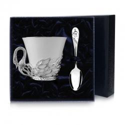 """Набор  серебряная  чайная чашка """"Лебедь"""""""