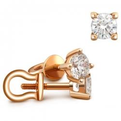 Серьги-пусеты из красного золота с бриллиантами