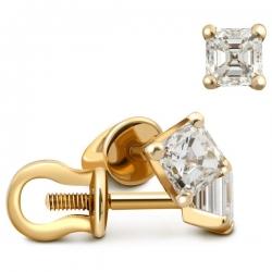 Серьги-пусеты из жёлтого золота с бриллиантами