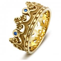 Эксклюзивное обручальное кольцо из жёлтого золота с сапфирами Корона