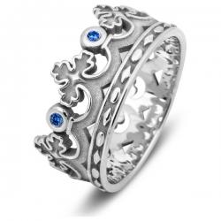 Эксклюзивное обручальное кольцо из белого золота с сапфирами Корона
