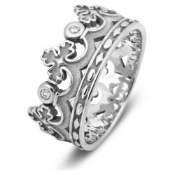 Эксклюзивное обручальное кольцо из белого золота с бриллиантами Корона