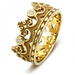 Эксклюзивное обручальное кольцо из жёлтого золота с бриллиантами Корона