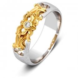 Эксклюзивное обручальное кольцо из комбинированного золота с бриллиантом