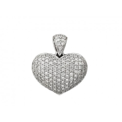 Подвеска в виде сердца из белого золота c бриллиантом