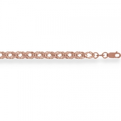 Золотой браслет Ромб тройной пустотелый с алмазной гранью